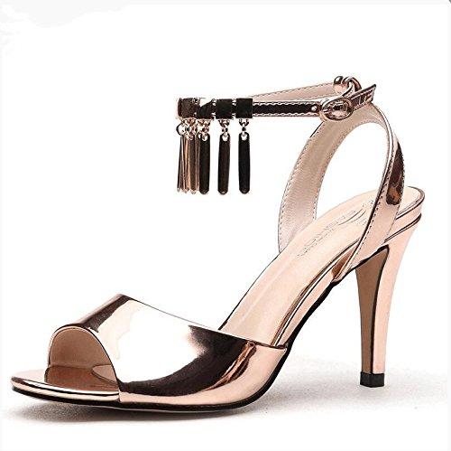 confortables Mujer verano blanco altos 35 tacones sandalias Gold Moda 4Bqawxdtnt
