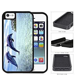 Dolphins Swimming In Ocean Island View 2-Piece Dual Layer High Impact Rubber Silicone Cell Phone Case Apple iPhone 5 5s