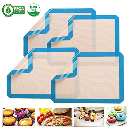 Silicone Baking Mat - Half Sheet 16.5 inch x 11 5/8 inch for Pastry Rolling with Measurements Non Stick Silicone Baking Mat for Kitchen Cooking Macaron/Bread Making quality non-toxic materials 4 pcs red blue