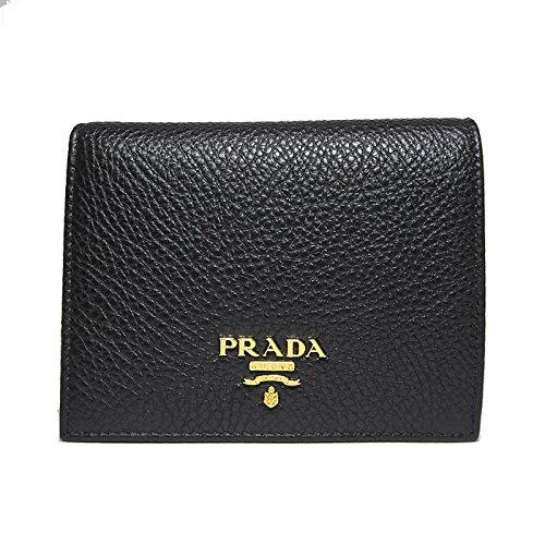 プラダ PRADA 財布 1MV204 鹿革 二つ折り財布 VITELLO GRAIN / NERO 【アウトレット】【並行輸入品】
