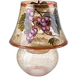 5th Ave Store Tuscany Cracked Glass Lamp Tealight Candle Holder, Painted Glass, Grape Print