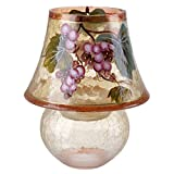 Tuscany Cracked Glass Lamp Candle Holder, Painted Glass, Grape Print