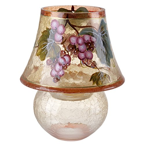 Tuscany Cracked Glass Lamp Candle Holder, Painted Glass, Grape (Grape Holder)
