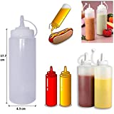 mayo dispenser - Healthcom 6pk 8 oz Food Dispensers Plastic Squeeze Bottles Condiment Bottles Twist On Cap Lids Multi Purpose Squeeze Bottles