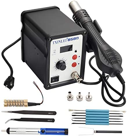 TXINLEI 858D 110V Solder Station, Digital Display SMD Hot Air Rework Station Solder Iron Kit Heat Gun, Tweezers, Desoldering Pump