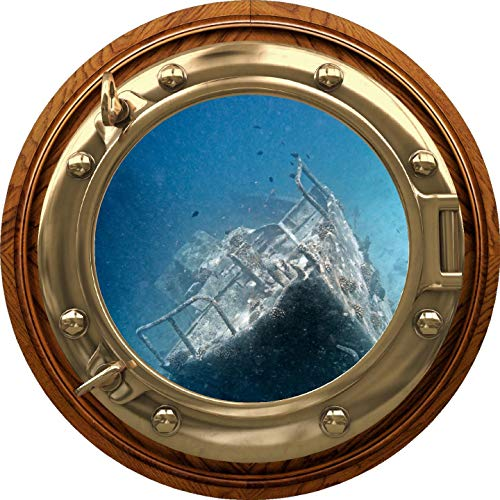 "12"" Port Scape Porthole 3D Window Sunken Shipwreck #2 BRASSWOOD Sea Portal Wall Decal Removable Fabric Vinyl Wall Sticker Ocean Wall Art Decor"