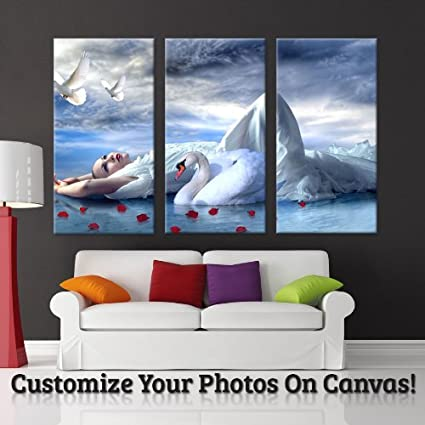 Amazon.com: Your Image Turn Into 3-piece Gallery Wrapped Canvas Art ...