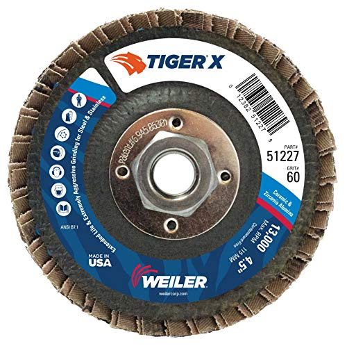 Weiler 51227 Tiger X Flap Disc, Ceramic and Zirconia Alumina, Flat, Phenolic Backing, 60 Grit, 4-1/2