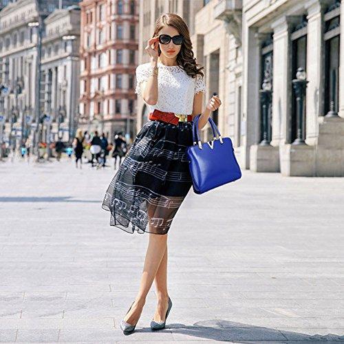 amp;A Women Handbag PU Tote Bag M Blue Set 3Pcs Purse Shoulder Leather dSg4I