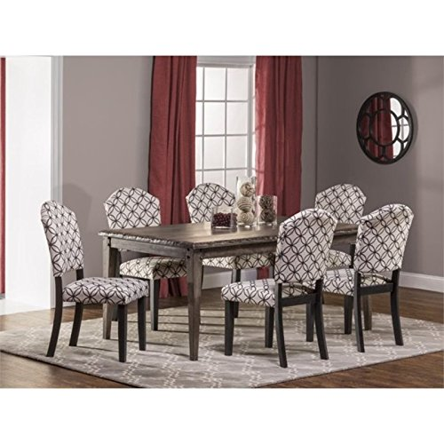 Bowery Hill 7 Piece Dining Set in Washed Charcoal Gray