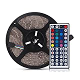 ELlight Flexible RGB LED Light Strip, SMD 3528 16.5ft(5m) 300leds, Water Resistant IP65 LED Strip Light Come with 44Keys Remote Controller and 12V 2A Power Adapter