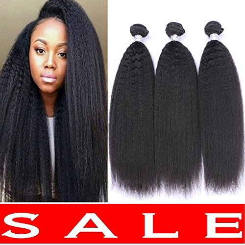 Brazilian Yaki Straight Hair 3 Bundles Human Hair Weave Kinky Straight Virgin Hair Unprocessed Virgin Brazilian Hair Weave Bundles(14 16 18)