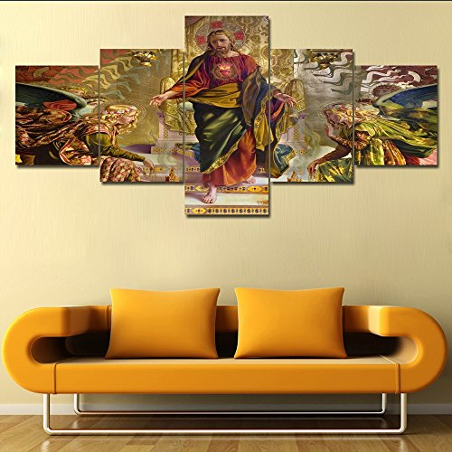 House Decorations for Living Room Jesus from Siena Church 5 Panel Canvas Pictures Contemporary Artwork Paintings Modern Home Decor Giclee Framed Gallery-wrapped Stretched Ready to Hang(50''Wx24''H)