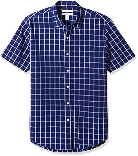 Windowpane Mens - Amazon Essentials Men's Slim-Fit Short-Sleeve Casual Poplin Shirt, Navy Windowpane, Small