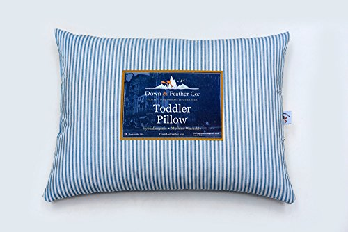 Down & Feather Co. Toddler Travel Pillow – Blue and White