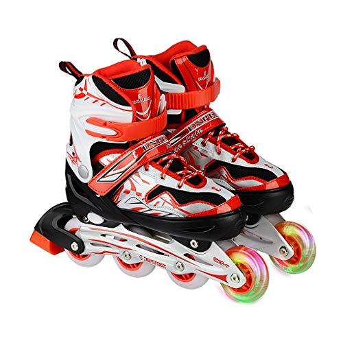 - LDDYC Roller Skates Straight Adjustable Children's Adult Roller Skates Men and Women Skates Flashing Skates Red (Size : S(32-35))