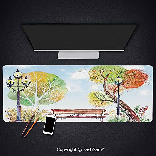 (Personalized Large Mouse Pad Colorful Fall Trees Wooden Bench Lantern in Park On Blue Sky Street Lamps Decorative Keyboard Pad for Laptop(W27.5xL11.8))
