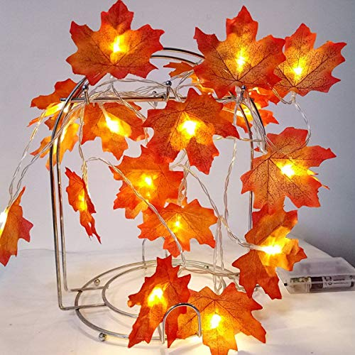 (Sexyrobot Maple Leaves Garland, 9.8 Feet 30 LED Battery Powered Fall Orange Harvest Faux String Lights,Decor for indoor Outdoor Party Halloween Thanksgiving Mother's Day Gift)
