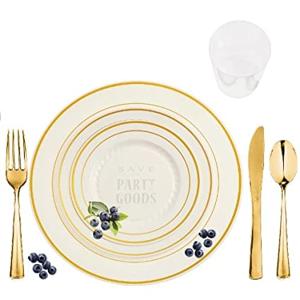 Amazon.com: 60 Full Table Setting Party Package Elegant Disposable ...