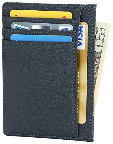 - Womens Slim Credit Card Holder Thin RFID Blocking Wallet Small Minimalist Leather Front Pocket Wallet for Men or Women - Cyan