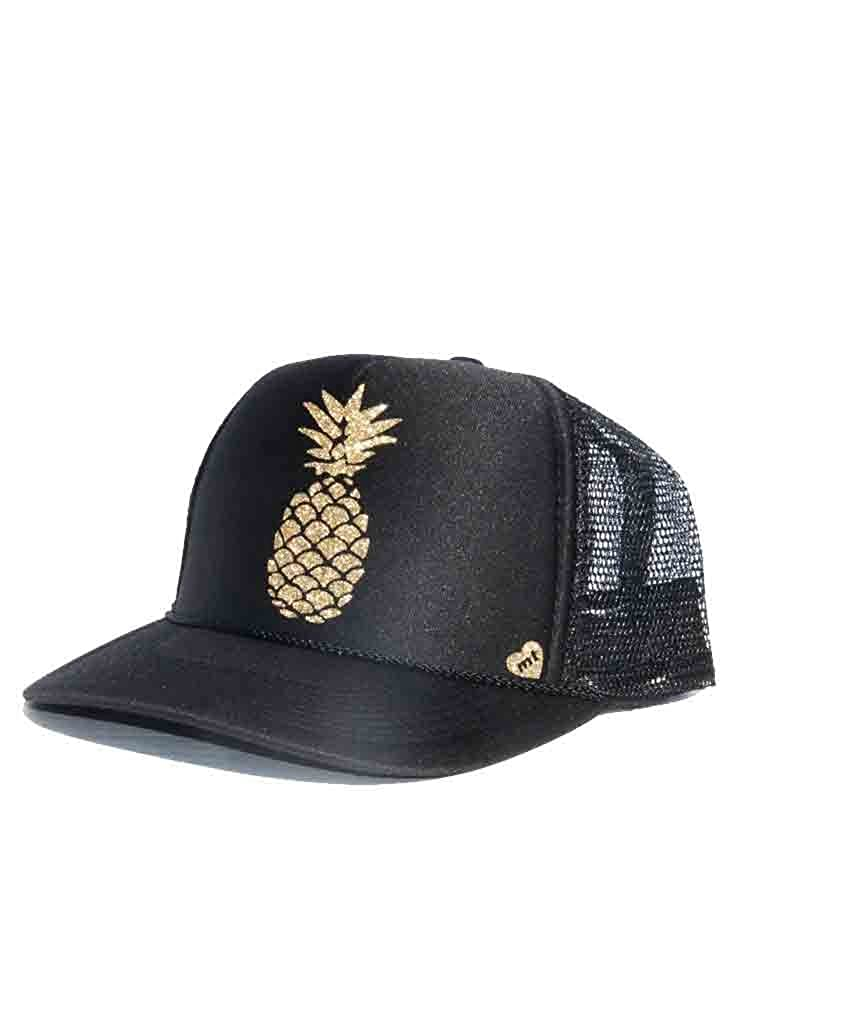 Mother Trucker Women s Pineapple Black and Gold Hat at Amazon Women s  Clothing store  48d842d6d55