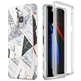 SURITCH Case for Galaxy S9, [Built-in Screen Protector] Cute Geometric Marble Full-Body Protection Shockproof Rugged Bumper Protective Cover for Samsung Galaxy S9 5.8 Inch (Gray Marble)