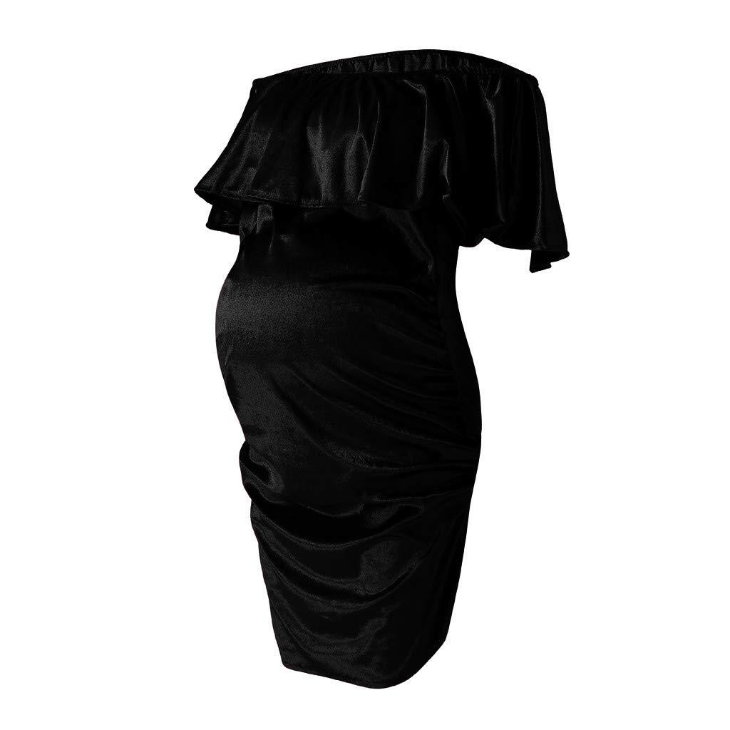 Allence Damen Umstandskleid Mutterschaft Kleider Elegante R/üsche Aus Der Schulter Party Kleider Minikleider Schwangere Hochzeit Kleider