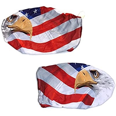 3D Image American Flag with American Eagle 4 Way Stretchable Car Mirror Cover, Spandex