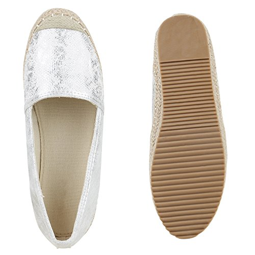 Stiefelparadies Damen Espadrilles Metallic Slipper Bast Profilsohle Flats Freizeit Schuhe Glitzer Prints Spitze Flandell Silber Metallic