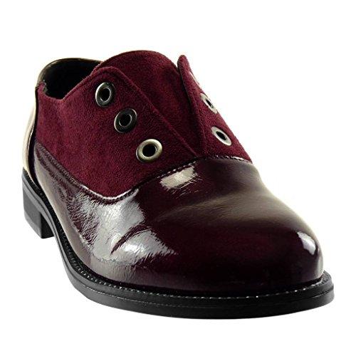 Chaussure Femme matière CM on bi Verni Derbies Bloc Talon Mode Angkorly clouté 2 Slip Bordeaux 5 perforée 1Bwpdd0