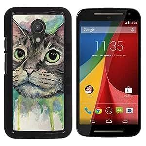 Caucho caso de Shell duro de la cubierta de accesorios de protección BY RAYDREAMMM - Motorola G 2ND GEN II - Pintura del gato feliz