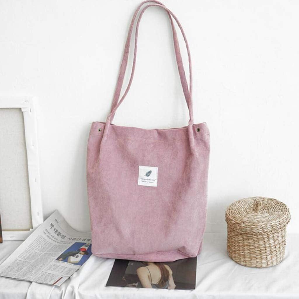Fityle Retro Women/'s Durable Canvas Tote Large Capacity Handbag Corduroy Casual Shoulder Bags
