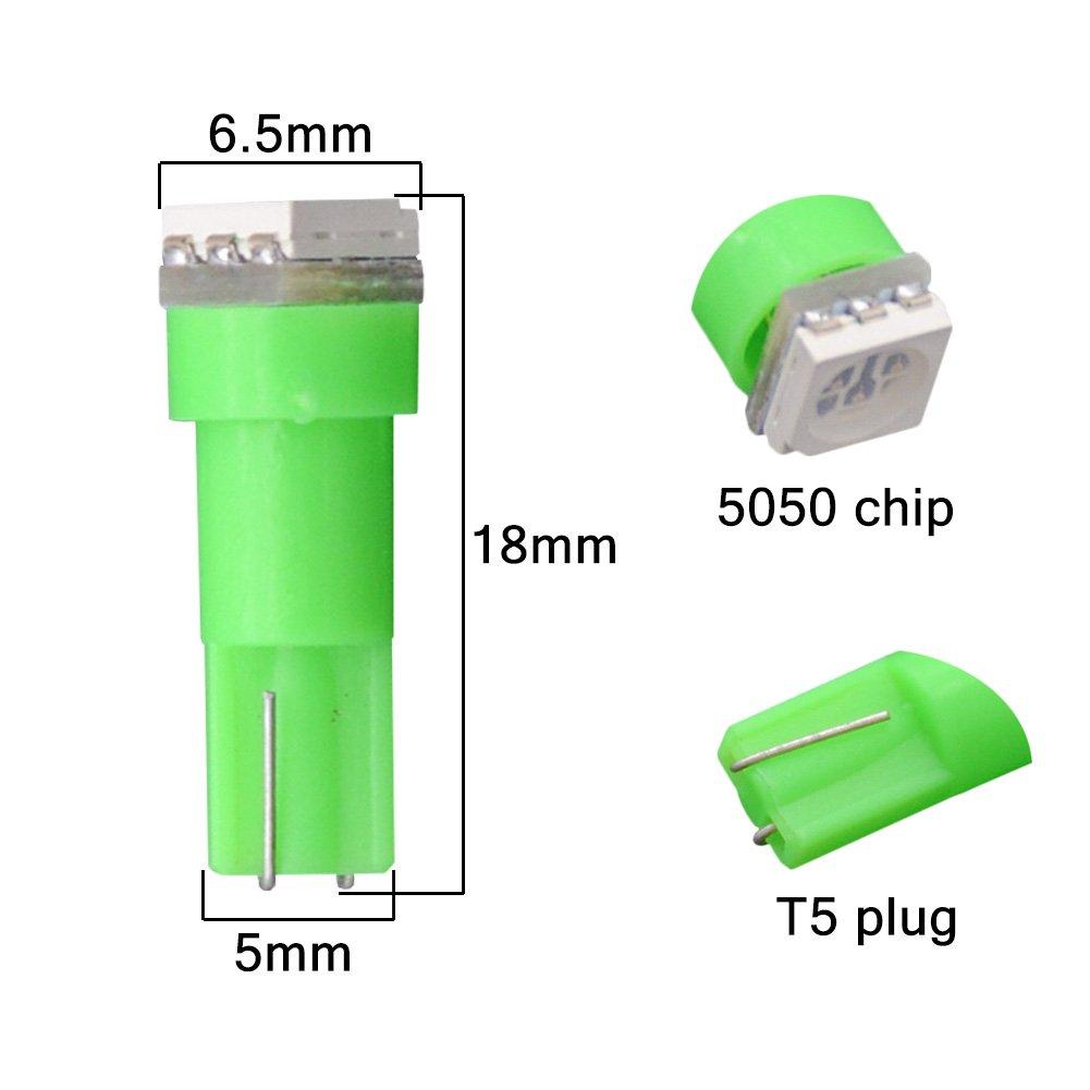 Pack of 40 KaTur T5 70 73 74 79 85 86 206 406 LED Bulbs 5050 1SMD Red 1W 12V Car Interior Instrument Cluster Gauge LED Lights Dashboard Signal LED Bulbs
