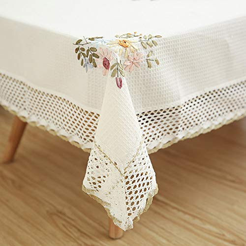 - Topmodehome Floral Embroideried Breathable Cotton Linen Tablecloth Hollow Lace Dustproof Table Cloth for Wedding Kitchen Dinning Tabletop Decoration (Floral, 51