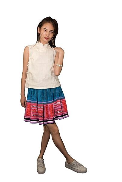 Interact China Falda Plisada Bordada Tribal Hmong Vestido Vintage Algodón 100% Artesanía #114