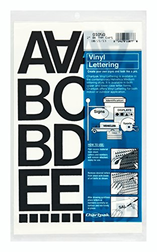 Chartpak Self-Adhesive Vinyl Capital Letters and Numbers, 2 Inches High, Black, 77 per Pack (01050)