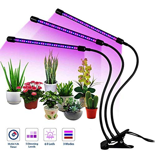 VSATEN Grow Light 30W Plant Grow Lights 3-Head 60 LEDs Timing Function 5 Dimmable Levels Plant Grow Lamp with Adjustable 360 Degree Gooseneck for Indoor Plants Hydroponics Gardening [2019 Upgraded] (Best Degree For Consulting)