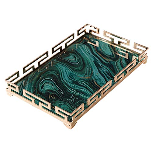 - FREELOVE LVMANAO Decorative Serving Trays, Green Agate Texture Glass, Rose Golden Metal Frame, Rectangle (Green, 14.6'' by 9'')