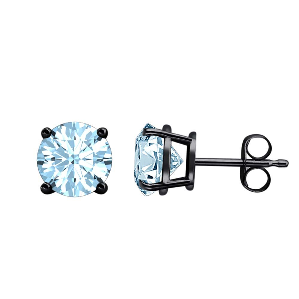 3MM TO 10MM Fancy Party Wear Round Cut Aquamarine Solitaire Stud Earrings 14K Black Gold Over .925 Sterling Silver For Womens /& Girls