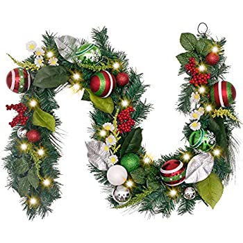 RAC-J502X6 National Tree 72 Inch Christmas Garland with Red and White Ornaments
