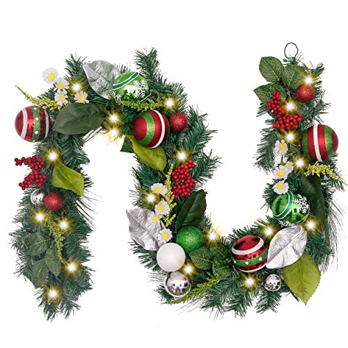 Valery Madelyn Pre-Lit 6 Feet/72 Inch Red Green Silver and White Christmas Garland with Eucalypti Leaves, Ball Ornaments and Berries, Classic Collection Splendor Theme, Battery Operated 20 LED Lights (Operated Pre Battery Lit Garland)