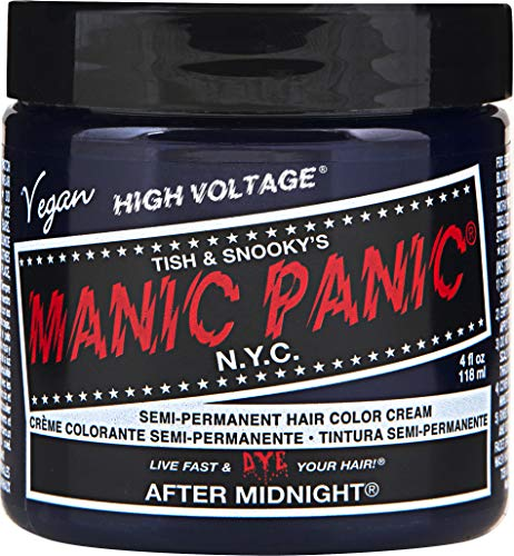 Manic Panic After Midnight Blue Hair Color Cream - Classic High Voltage - Semi-Permanent Hair Dye - Vivid, Blue Shade - For Dark, Light Hair - Vegan, PPD & Ammonia-Free - Ready-to-Use, No-Mix Coloring