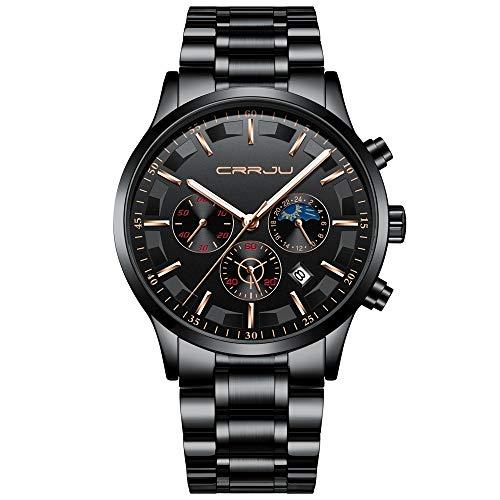 CRRJU Brand Men's Business Casual Chronograph Quartz Waterproof Wristwatch Black Stainless Steel Strap (Black Blue)