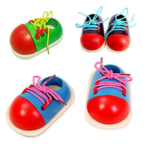 PIXNOR Tie-Up Shoe Kids Learnimg To Tie Shoe Lacing Preschool Educational Toy