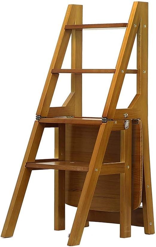 FOLDTAC Taburete Plegable, Escalera de Madera de 4 Pasos Antideslizante Dormitorio Exterior Multifuncional Sala de Estar 36.5 X 46.5 X 90 cm: Amazon.es: Hogar