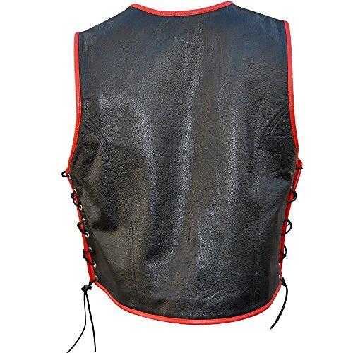 Gilet Pelle nero In Biker Giacca Rosso Xl Multicolore UqdaFaw
