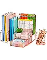 $29 » Marbrasse Rose Gold Desk Organizer for Women, Multi-Functional Mesh Desk Organizers and Accessories, Large Capacity Metal Office Supplies and Accessories for Home Office School, 2 Pack