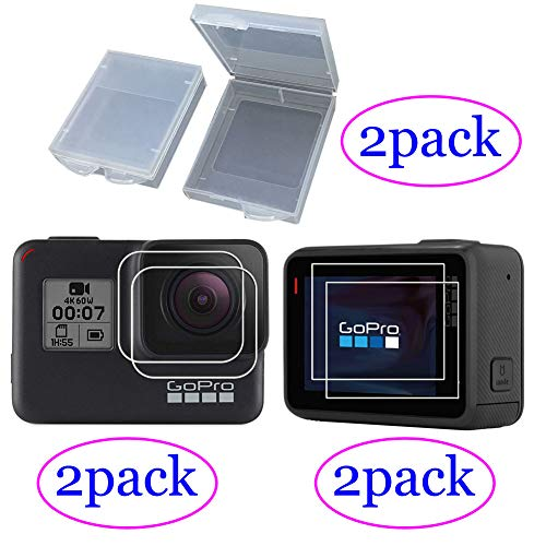 ZLMC Screen+Lens Protector for GoPro Hero 5 6 7 Camera,Tempered Glass Film Protection Cover & Protective Batteries Accessory Boxes Case for Gopro Hero6 Hero5 Hero7 Black -(2Pack)