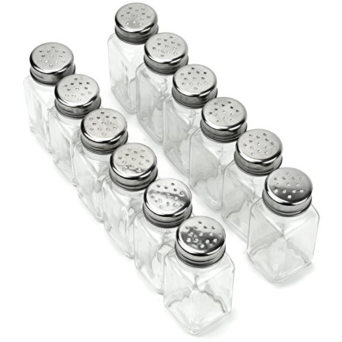 Mushroom Salt Mill - 12 Pack of Spice Shakers, Salt & Pepper, Spices, & Seasonings – Stainless Steel Top & Glass Body, Restaurant & Home Kitchen Supplies by Back of House Ltd.