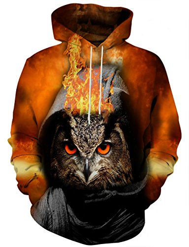 Yasswete Unisex Hooded Sweatshirts Pullover Owl Print Outwear with Big Pockets Small
